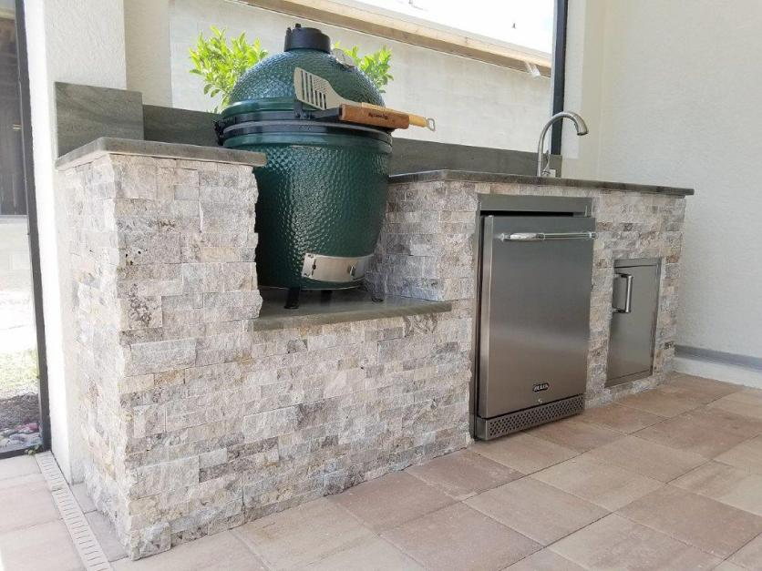 Green Egg Built-In Outdoor Kitchen Construction