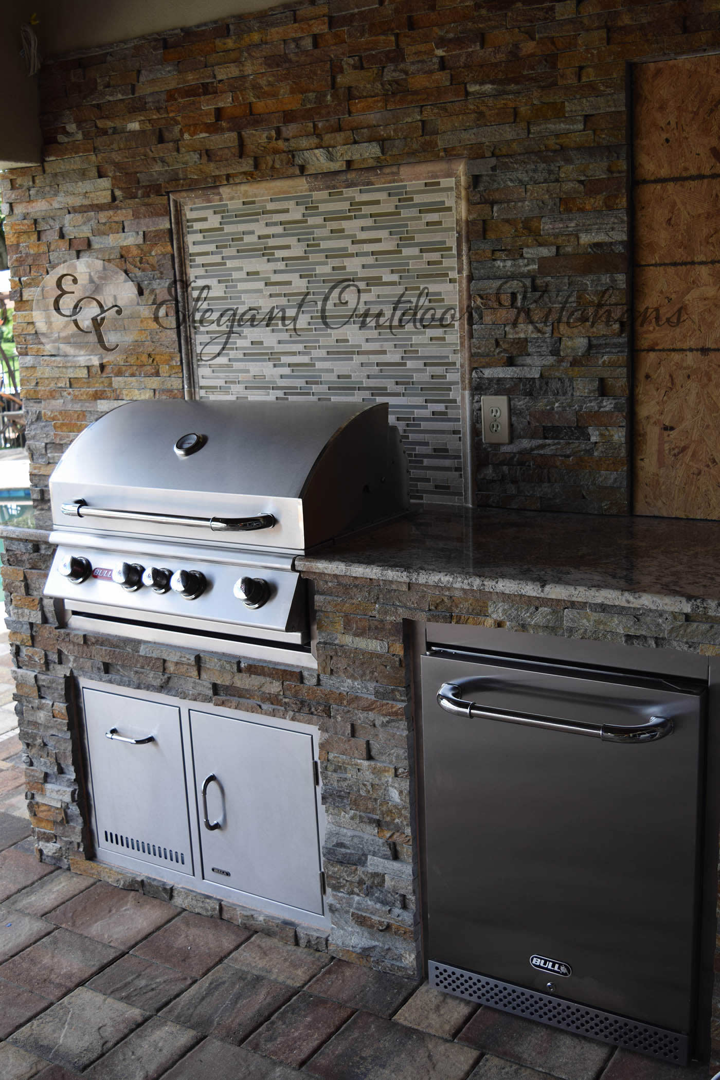 stacked stone outdoor kitchen reclaimed wood tables galore in whiskey creek custom