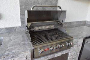 Open Built-In Bull Brand Barbecue Grill - Elegant Outdoor Kitchens Custom Builds