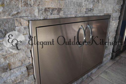 Built-In Double Stainless Steel Doors - Elegant Outdoor Kitchens