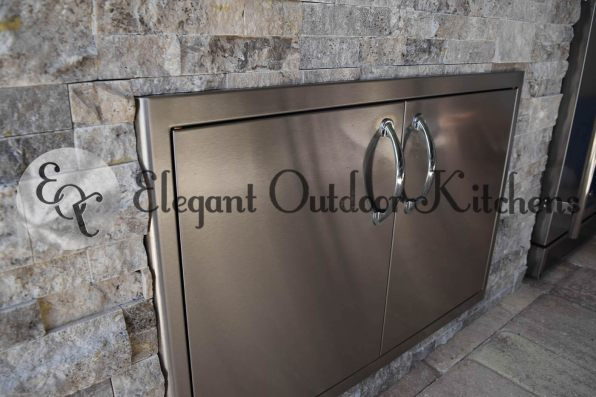Built-In Double Stainless Steel Doors - Elegant Outdoor Kitchens