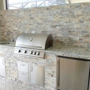 Dallas White & Silver Travertine - Outdoor Kitchen Construction by Elegant Outdoor Kitchens of Fort Myers, Florida