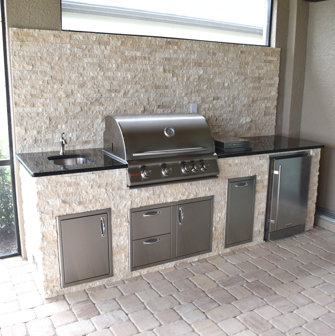 stacked stone outdoor kitchen large tables rock selections with corners elegant kitchens