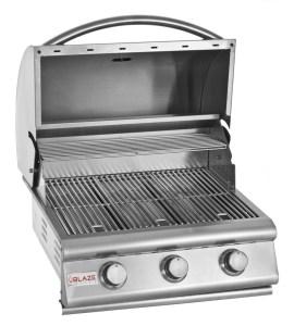 Blaze 25 Inch 3-Burner Built-In Barbecue Grill - Open Grill Head