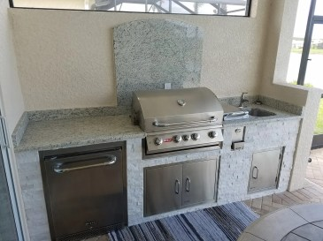 Custom Barbecue Island with Backsplash