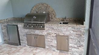 Beautiful Custom Barbecue Island Design by Elegant Outdoor Kitchens of Fort Myers, Florida
