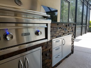 Close-up of a Custom Barbecue Island - Lynx Professional Grill