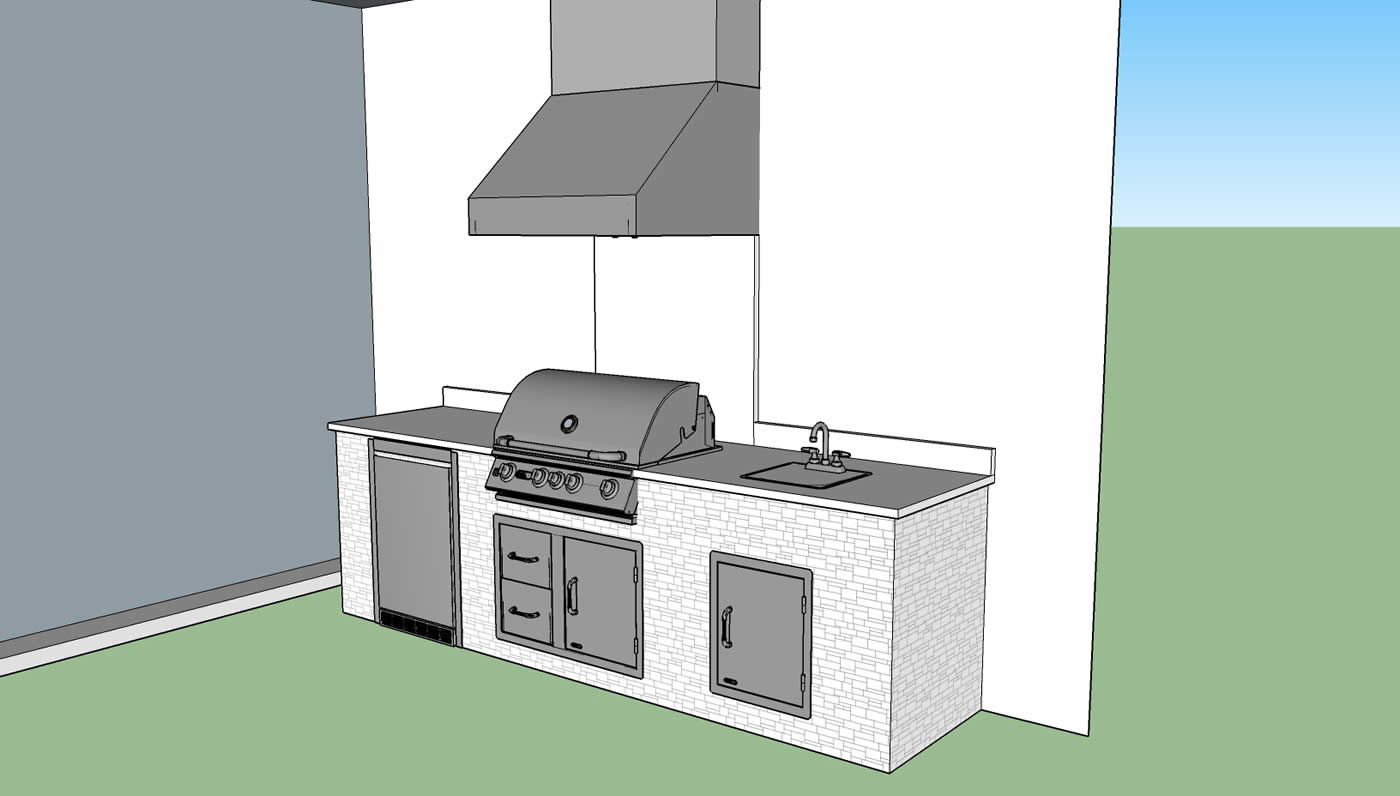 Kitchen design drawing fabulous home design for Outdoor kitchen cad drawings