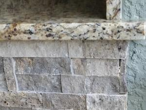 Close-Up of Silver Travertine Fascia - Elegant Outdoor Kitchens of Southwest Florida