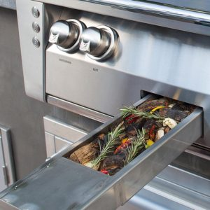 Alfresco Grills ALXE Professional Barbecue Grill Smoker Tray - Custom Outdoor Kitchen Built-in Grills