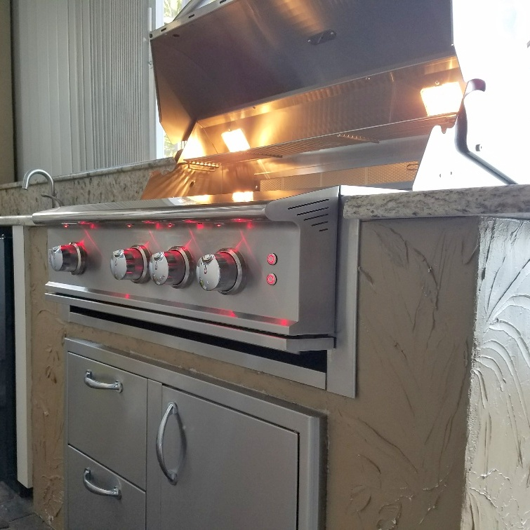 Blaze 34 Inch Professional grill with a grill jacket and the double drawer access door combo