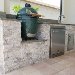 Stacked Stone Outdoor Kitchen Tables With Benches The Big Green Egg Elegant Kitchens