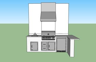 Paseo Summer Kitchen CAD Design - Front