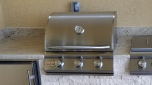 Custom BBQ Island with Blaze 3-burner 25 Inch Built-In Barbecue Grill