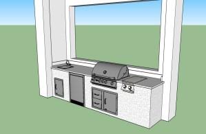 3D Custom Outdoor Kitchen Preliminary Design Rendering