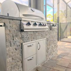 Stacked Stone Outdoor Kitchen Stainless Steel Wall Panels Commercial Poolside Custom Paradise Elegant