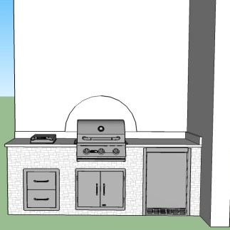 """Golden White stacked stone and the Blue Sapphire granite. The Blaze 3-burner 25"""", 25"""" double access door, 4.1 CU FT outdoor rated refrigerator."""