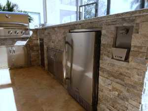 Outdoor Kitchen Components and Silver Travertine Stacked Stone