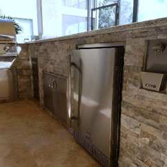 Stacked Stone Outdoor Kitchen Power Grommet Room To Breathe Custom Barbecue Island Elegant
