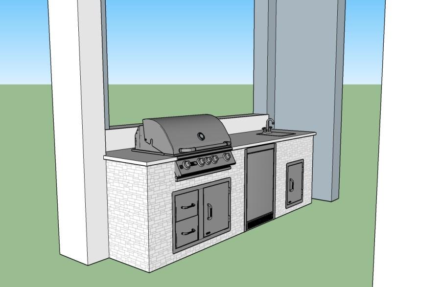 CAD 3D Outdoor Kitchen Design by Elegant Outdoor Kitchens of SWFL