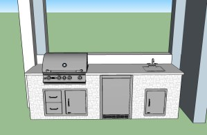 Custom CAD Design of Outdoor Kitchen and Living Area