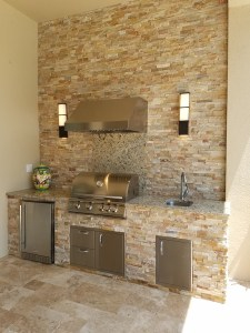 ant Outdoor Kitchens - finished with a Golden White stacked stone and Santa Cecilia Napoli level 1 granite