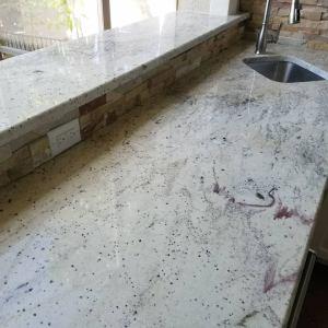 Elegant Outdoor Kitchens Custom Barbecue Island with 2-Tier Level One Baracco White Granite Countertops