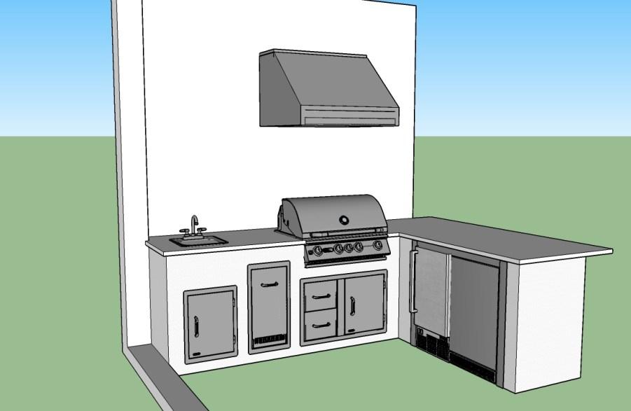 3D Elegant Outdoor Kitchens Custom Design