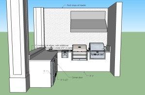 Barbecue Island 3D CAD Drawing - The Magnificent Custom Outdoor Kitchen with American Outdoor Cabinets