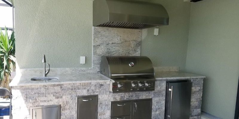 Elegant, Elegant Outdoor, Elegant Outdoor Kitchen, Outdoor Kitchens, Custom Outdoor Kitchens, BBQ, BBQ Island, BBQ Islands, Barbecue Islands, Barbecue, Blaze Grill, Grill, Grilling, Blaze Professional Series, Outdoor Refrigerator, Blaze 4.1 refrigerator, travertine, granite, countertops