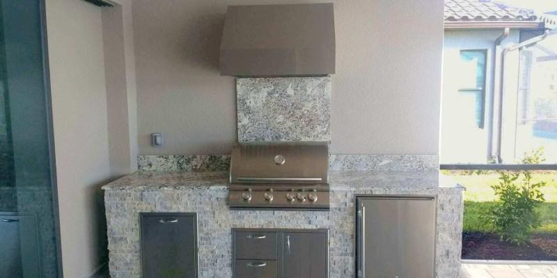 Branco Antique Granite Kitchen - Front View - Elegant Outdoor Kitchens