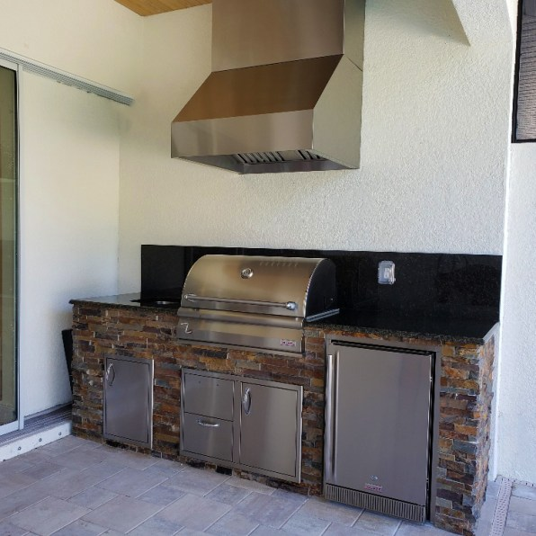 California Gold stacked stone Custom Kitchen