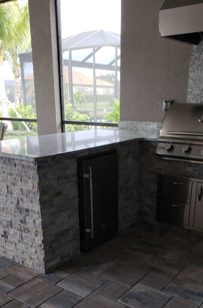 Taylor Morrison Home Outdoor Kitchen Refrigerator View by Elegant Outdoor Kitchens