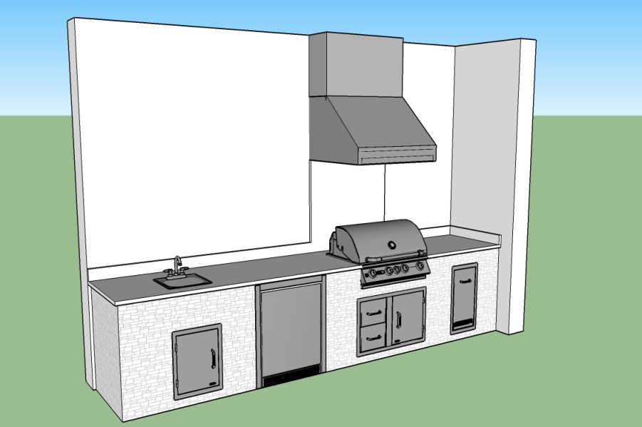 Branco Dallas Outdoor Kitchen CAD Design by Elegant Outdoor Kitchens