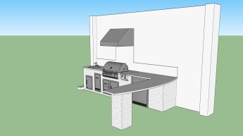 Summer kitchen with open bar space