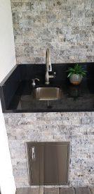 Built-in Custom Outdoor Kitchen Faucet and Sink - Elegant Outdoor Kitchens