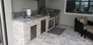 Custom Outdoor Kitchen and Sealoc Outdoor-Rated Television
