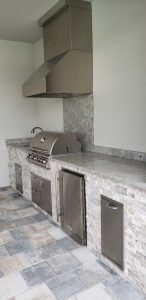 Custom Summer Outdoor Kitchen with Silver Travertine Stacked Stone