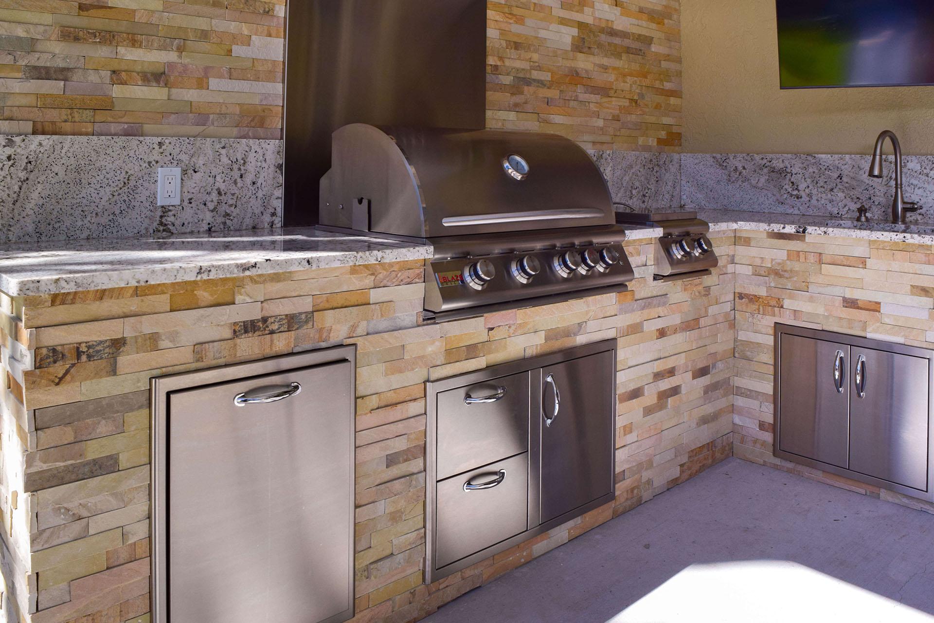 Elegant Outdoor Kitchen Constructed Summer Kitchen - SWFL Outdoor Kitchen Builders