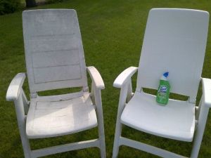 A picture showing of set two chairs, one with mold removed-How do you remove black mold from plastic