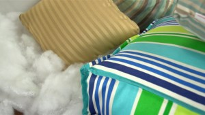 Polyester fiber fill is some of the materials to help answer 'What Do I Use To Stuff Outdoor Pillows?'