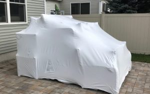 Shrinkwrapped outdoor furniture showing ideal way on how to shrink wrap outdoor furniture
