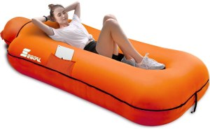 A girl sleeping on the best outdoor inflatable lounger