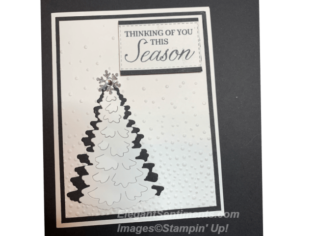 Black and White Christmas card featuring Stampin Up