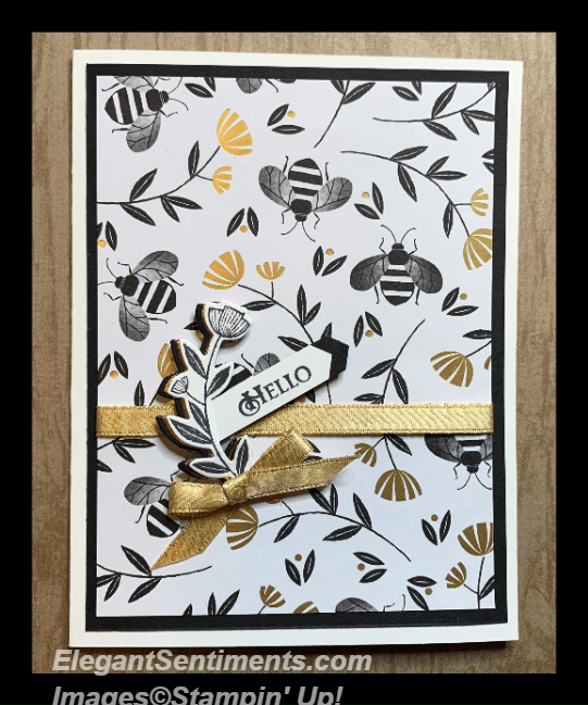 Hello greeting card with bees featuring Stampin' Up products