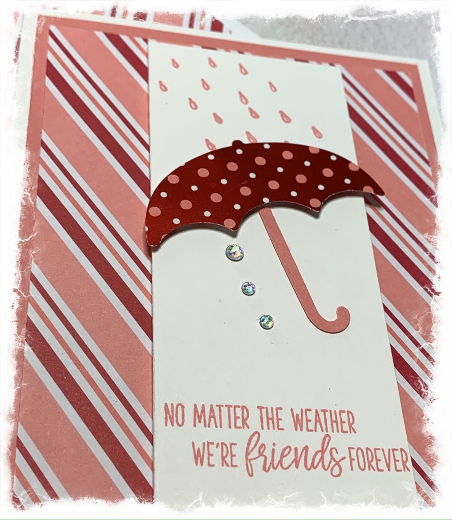 Close up of a friendship card made with Stampin Up products