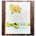 Hello greeting card with flower and ribbon made with Stampin