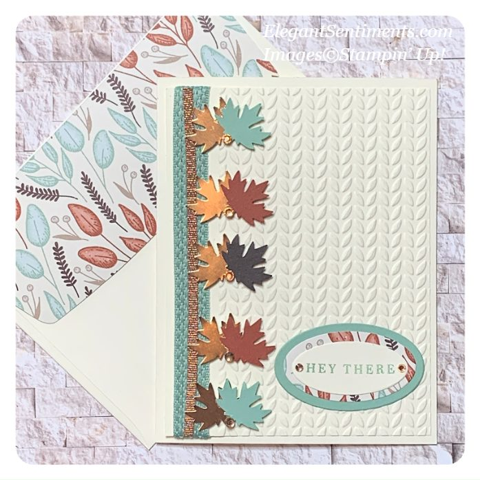 Autumn themed greeting card and coordinated envelope made with Stampin' Up! envelope