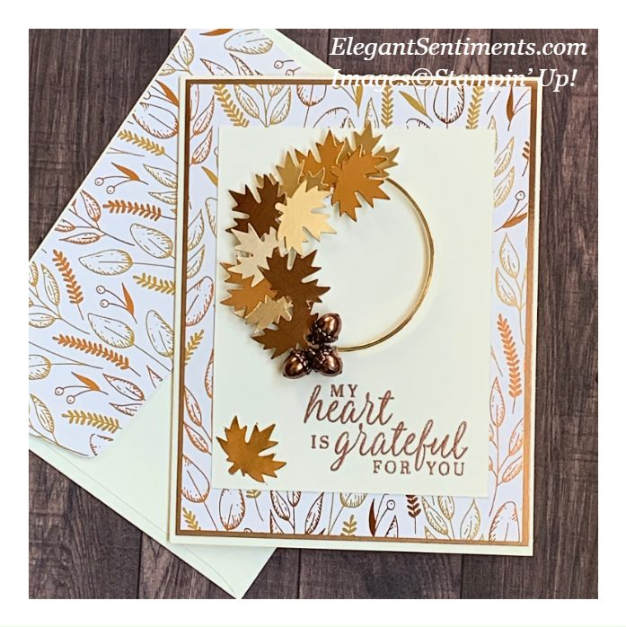 Autumn Themed greeting card and coordinated envelope made with Stampin' Up! products