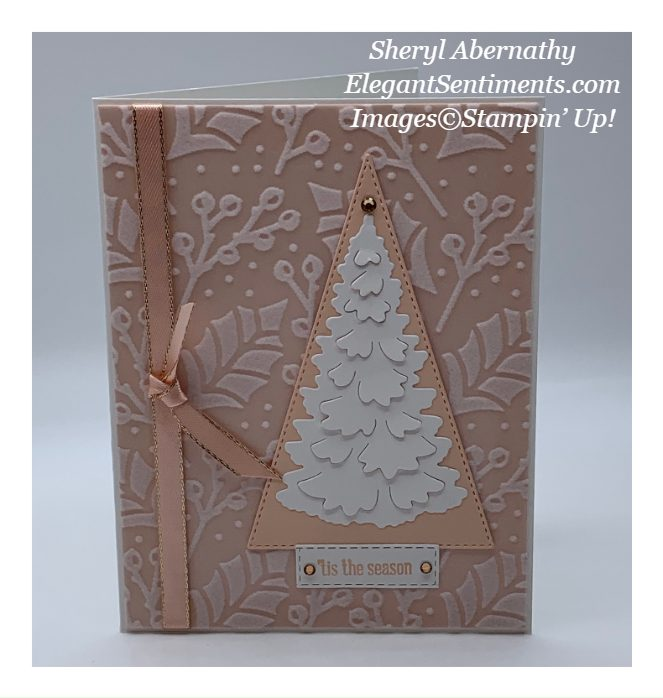 Christmas card in Petal Pink made with Stampin' Up! products